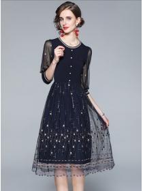 Retro Fashion Gauze Flowers Embroidery Knitting A-line Dress