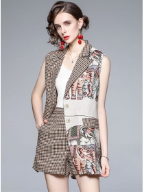 Vogue Lady Tailored Collar Elephants Houndstooth Short Suits