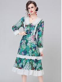 Europe Wholesale Doll Collar Flowers Flouncing A-line Dress