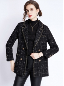 Europe Stylish Double-breasted Tailored Collar Tweed Coat