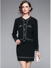 Europe Autumn Single-breasted Slim Two Pieces Dress