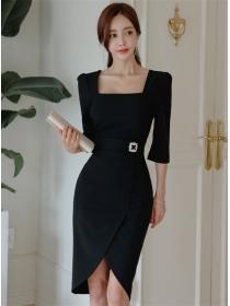 Modern OL Square Collar Fitted Waist Mid-sleeve Slim Dress