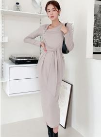 Wholesale Korea Tie Waist Slim Cotton Long Dress