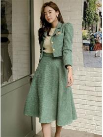 Modern Lady Tailored Collar High Waist Tweed Dress Set