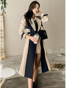 Quality OL Fashion Color Block Tailored Collar Long Coat