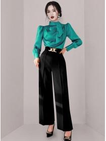 Elegant Fashion 2 Colors Flouncing Blouse with Long Pants