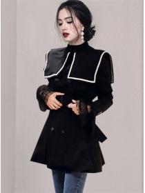 Retro Fashion Doll Collar Double-breasted Coat Dress