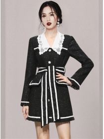 Winter New Lace Doll Collar Tie Waist Thick Tweed Coat Dress