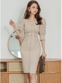 Wholesale 2 Colors V-neck Fitted Waist Puff Sleeve Dress Set
