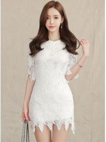 Korea Wholesale Round Neck Lace Mid-sleeve Slim Dress