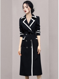 Modern Lady Color Block Double-breasted Long Coat
