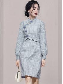 Retro Grace 3 Colors Plaids Puff Sleeve Cheongsam Dress