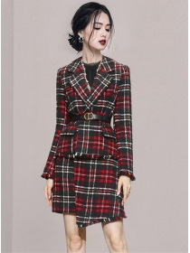 Classic Fashion Tailored Collar Plaids Woolen Dress Set