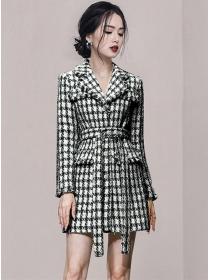 Winter Fashion Tailored Collar Tie Waist Plaids Thick Tweed Coat