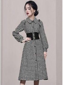 Brand Fashion Doll Collar Single-breasted Houndstooth Tweed Coat