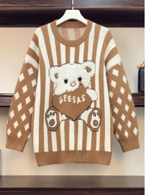 Lovely Plus Size 3 Colors Stripes Bear Sweater Pullovers