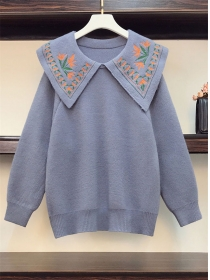 Preppy Plus 3 Colors Embroidery Doll Collar Sweater Pullovers