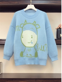 Cute Fashion Plus Size 3 Colors Cartoon Sweater Pullovers
