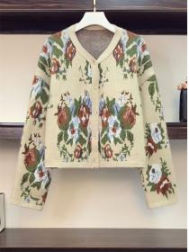Retro Fashion Plus Size Flowers Short Sweater Coat