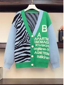 Stylish Plus Size Buttons V-neck Letters Zebra Stripes Sweater