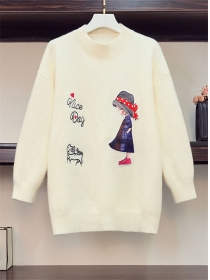 Lovely Wholesale Cartoon Embroidery Plus Size Pullovers