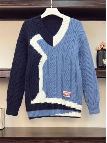 Fashion Plus 2 Colors Block Twisted Sweater Pullovers