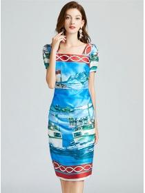 Charming Europe Square Collar Sea Printings Slim Dress