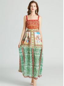 Pretty Fashion Elastic High Waist Flowers Straps Long Dress