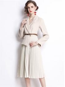 Modern OL Tailored Collar Splicing Pleated Long Dress