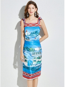 Wholesale Europe Tie Bowknot Straps Printings Bodycon Dress