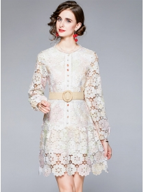 Charming Grace Lace Flowers Hollow Out Long Sleeve Dress