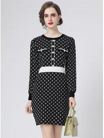 Autumn New Round Neck Dots Knitting Long Sleeve Dress