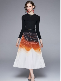 Retro Europe Knitting Tops Splicing Pleated A-line Long Dress