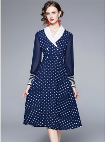 Modern Lady Tailored Collar Double-breasted Dots A-line Dress