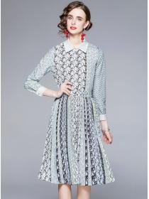 Autumn Fashion Doll Collar High Waist Flowers Pleated Dress Set