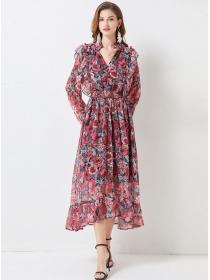 Charming Lady Elastic Waist V-neck Flowers Maxi Dress