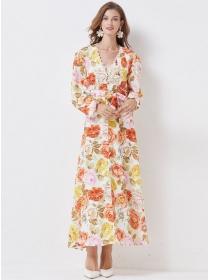 Europe Stylish V-neck High Waist Flowers Long Dress