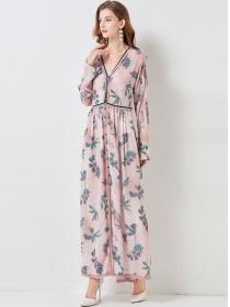 Pretty Fashion Single-breasted V-neck Flowers Long Dress