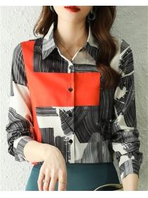 Fashion Women Color Block Shirt Collar Chiffon Blouse