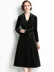 Handsome Lady Rhinestones Collar Tie Waist Velvet Long Coat
