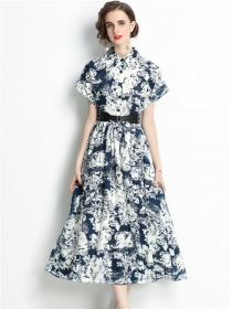 Europe Retro Belt Waist Ink Printings Loosen Long Dress