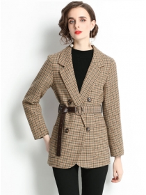 British Style Double-breasted Tailored Collar Plaids Coat
