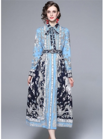 Europe Stylish Tie Collar Flowers Long Sleeve Maxi Dress
