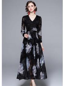 Europe Stylish V-neck High Waist Flowers Maxi Dress
