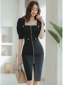 Wholesale Korea Zipper Square Collar Mid-sleeve Slim Dress