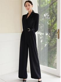 Vogue Lady Tie High Waist Stripes Wide-leg Long Jumpsuit