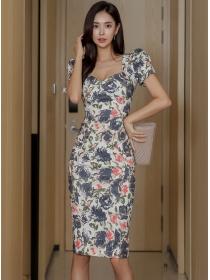 Pretty Women Square Collar Flowers Bodycon Dress