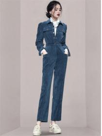 Fashion Lady High Waist Shirt Collar Corduroy Long Jumpsuit