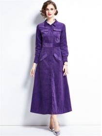 Europe Autumn Shirt Collar Zipper Open Corduroy Coat Dress