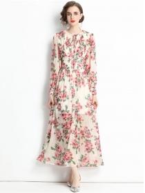 Charming Europe High Waist Flowers Chiffon Maxi Dress